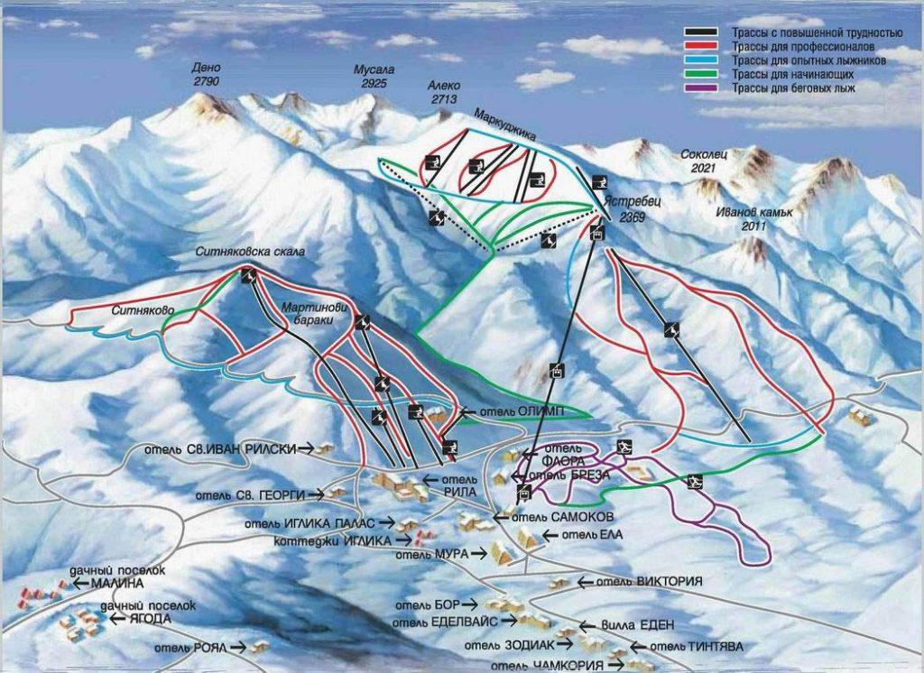 Карта схема Боровец